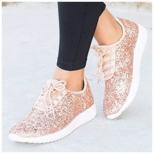 ROSE GOLD | Lightweight glitter sneakers